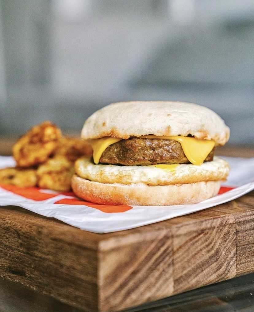 beyond meat dunking sandwhich